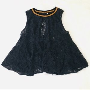 Free People Black Lace Swing Ribbed Neck Blouse!